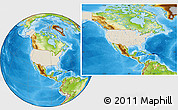 Shaded Relief Location Map of United States, physical outside