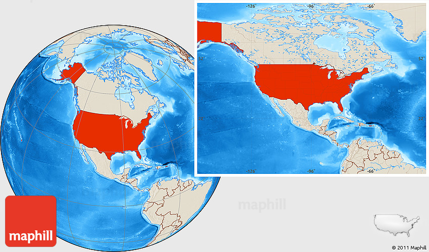 Shaded Relief Location Map Of United States - United states location