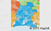 Political Shades 3D Map of ZIP codes starting with 706