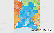 Political Shades Map of ZIP codes starting with 706