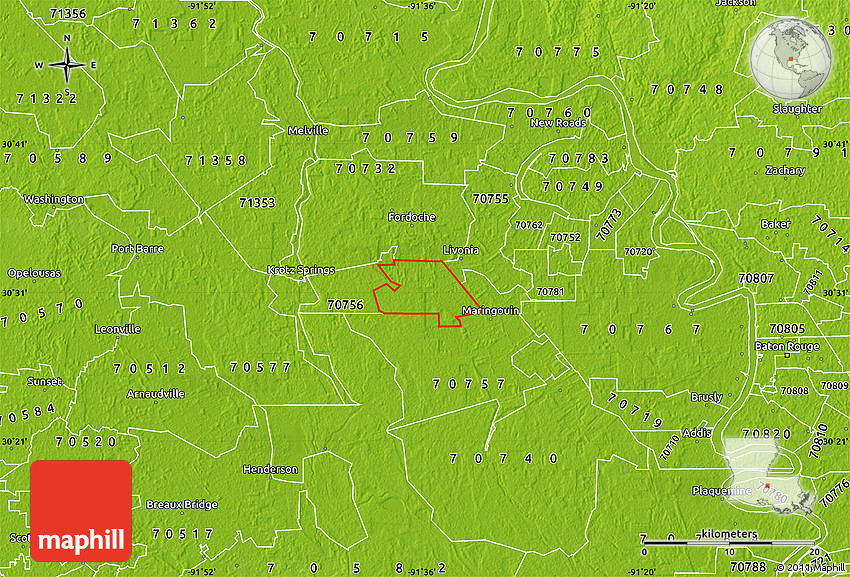Physical Map of ZIP Code 70717 on zip code map of southern utah, zip code map of southern illinois, zip code map of southern indiana, zip code map of southern california, zip code map of southern maryland, zip code map of southern arizona, zip code map of southern ohio,