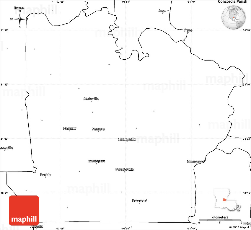 Blank Simple Map of Avoyelles Parish