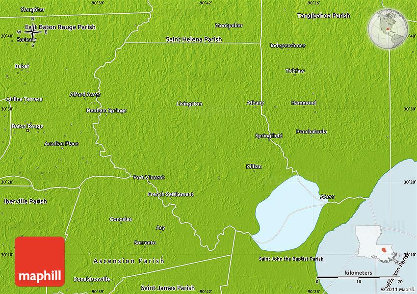 Physical Map Of Livingston Parish