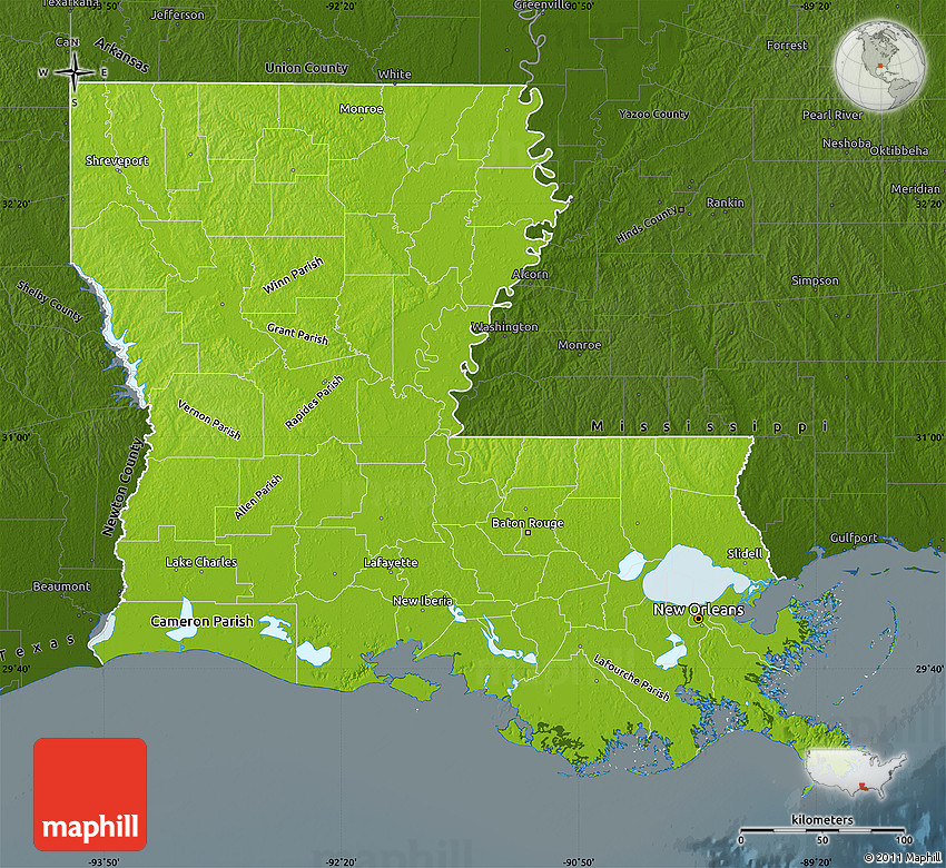 physical map of louisiana Physical Map Of Louisiana Darken physical map of louisiana