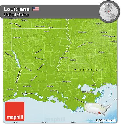 Free Physical Map of Louisiana