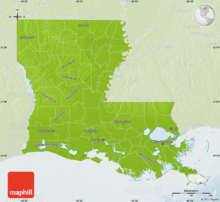 Physical Map of Louisiana lighten
