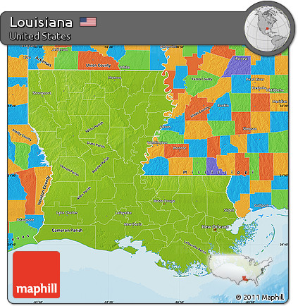 Free Physical Map of Louisiana, political outside