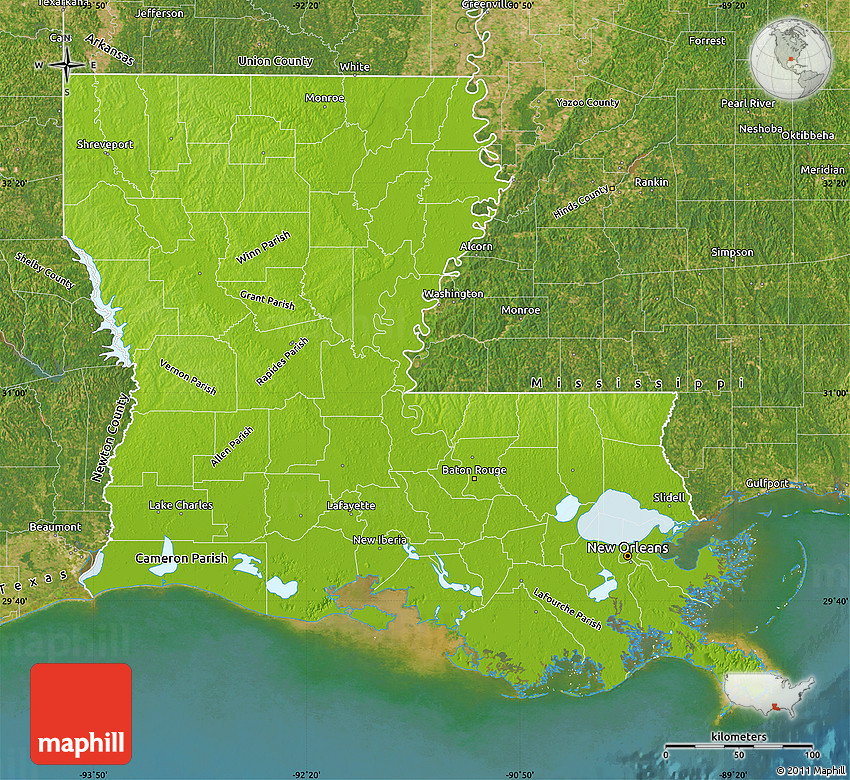 Louisiana Physical Map Swimnovacom - Physical map of louisiana