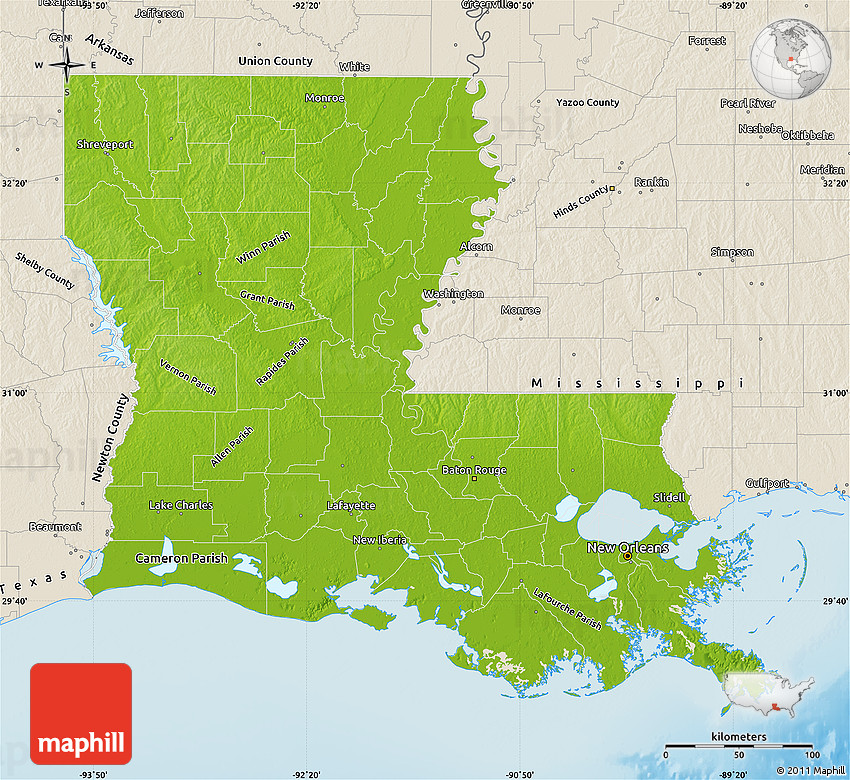 Physical Map of Louisiana shaded relief outside