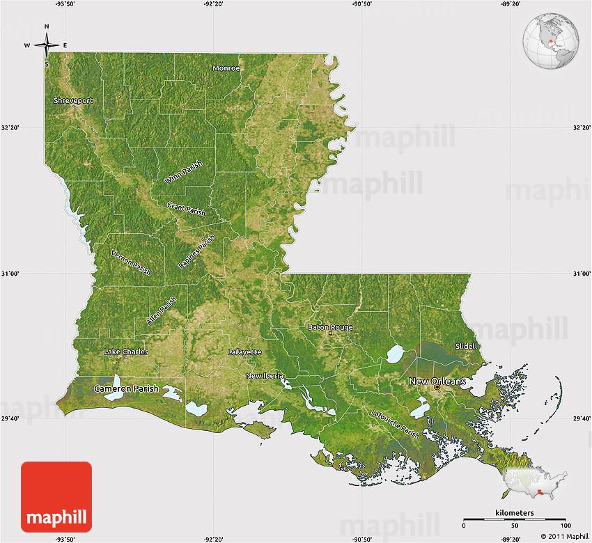 Satellite Map Of Louisiana Cropped Outside
