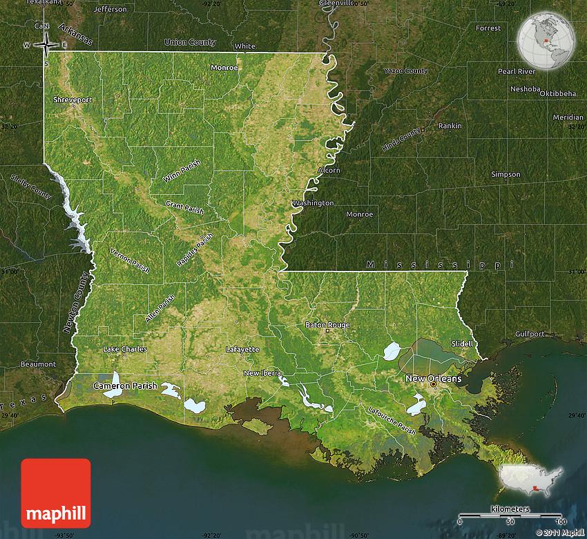 Satellite Map Of Louisiana Darken