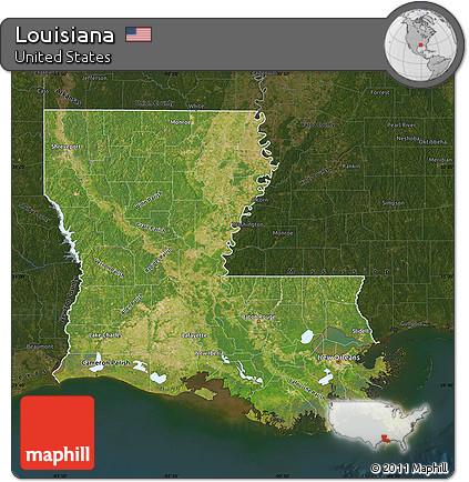 Free Satellite Map Of Louisiana Darken