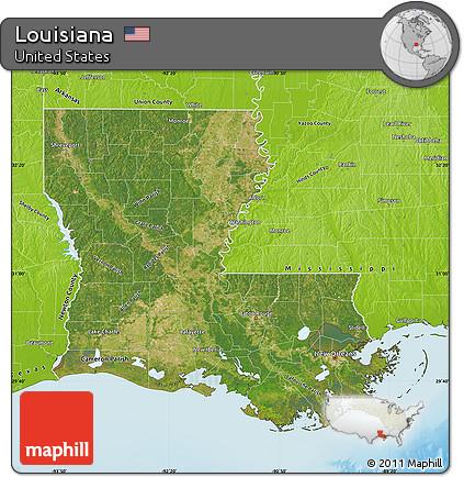 Free Satellite Map Of Louisiana Physical Outside