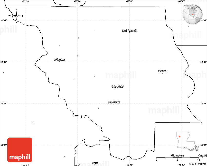 Blank Simple Map Of Red River Parish - The red river map us