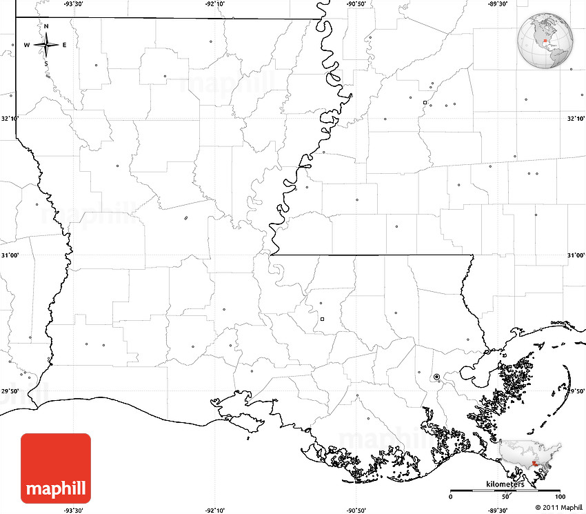 Blank Simple Map of Louisiana, no labels