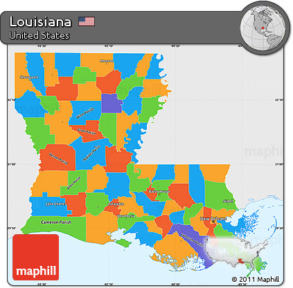 Free Political Simple Map Of Louisiana Single Color Outside - Louisiana map