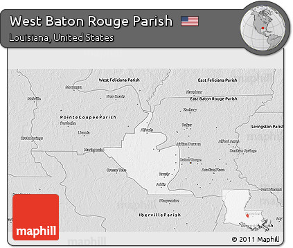 Silver Style 3D Map of West Baton Rouge Parish