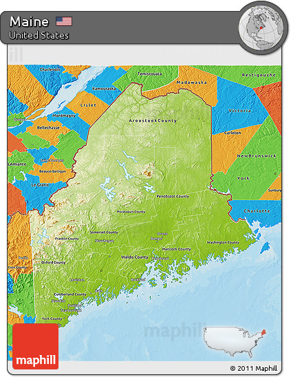 Free Physical 3D Map of Maine political outside
