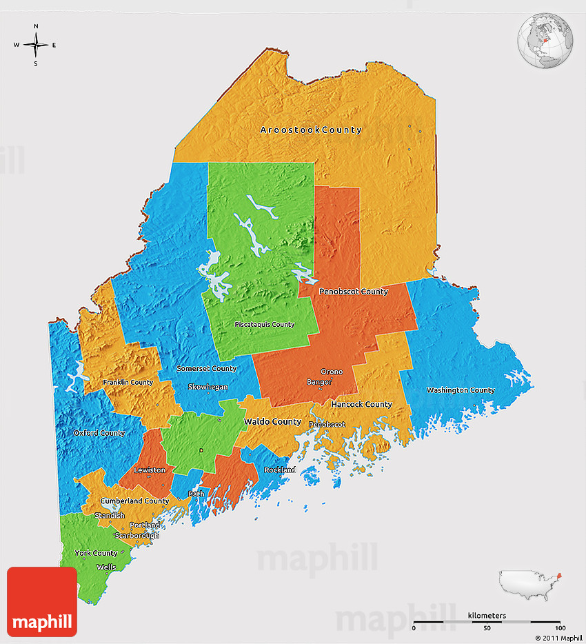 Political 3D Map of Maine, cropped outside