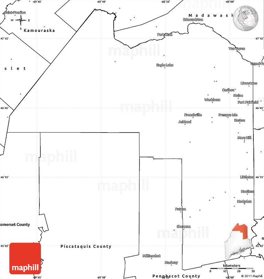 Blank Simple Map Of Aroostook County