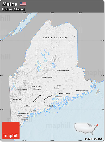 gray maine maps Free Gray Map Of Maine Single Color Outside gray maine maps