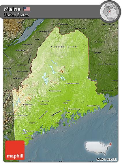 Free Physical Map of Maine darken