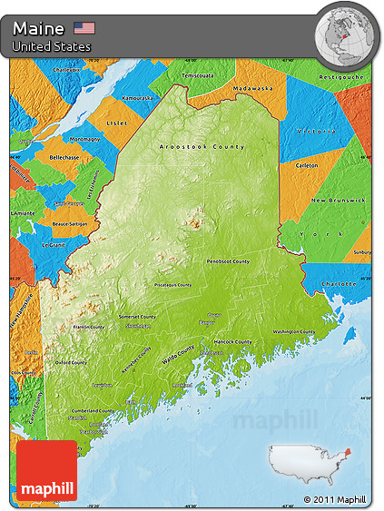Free Physical Map Of Maine Political Outside - Physical map of the united states