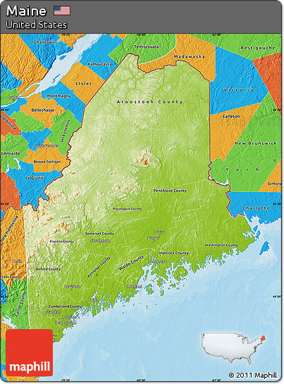 Free Physical Map of Maine political outside