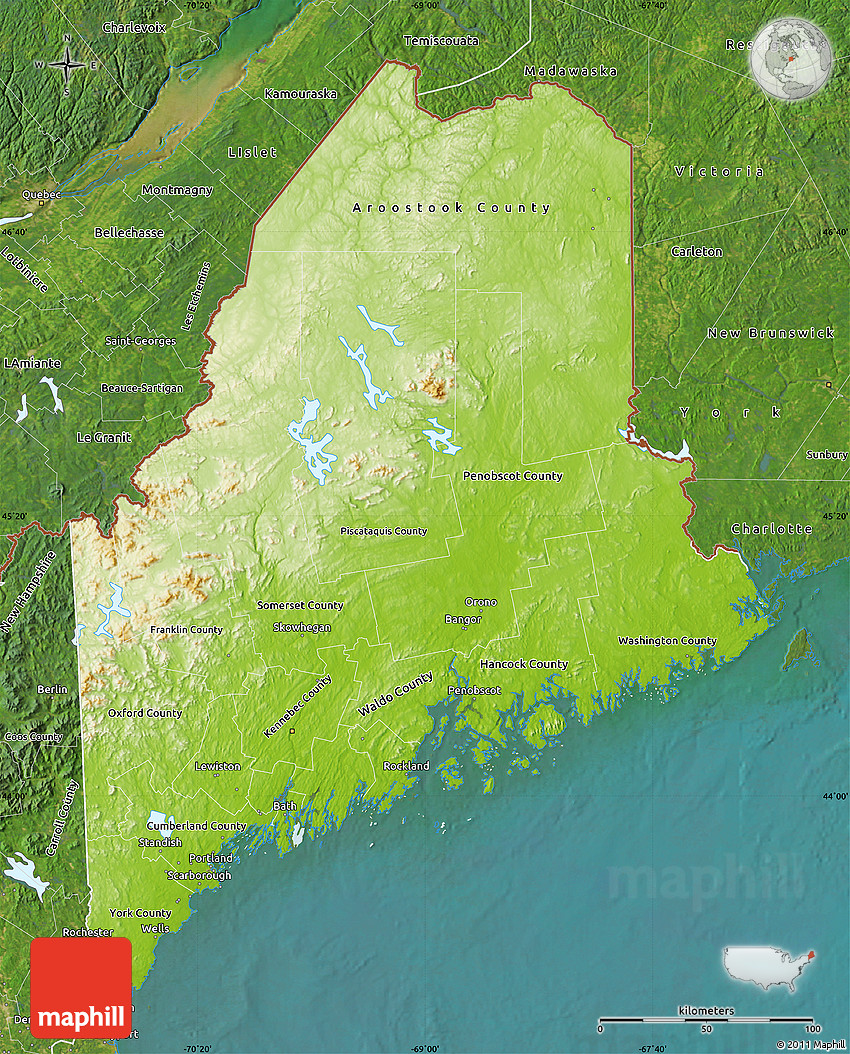 Physical Map of Maine satellite outside