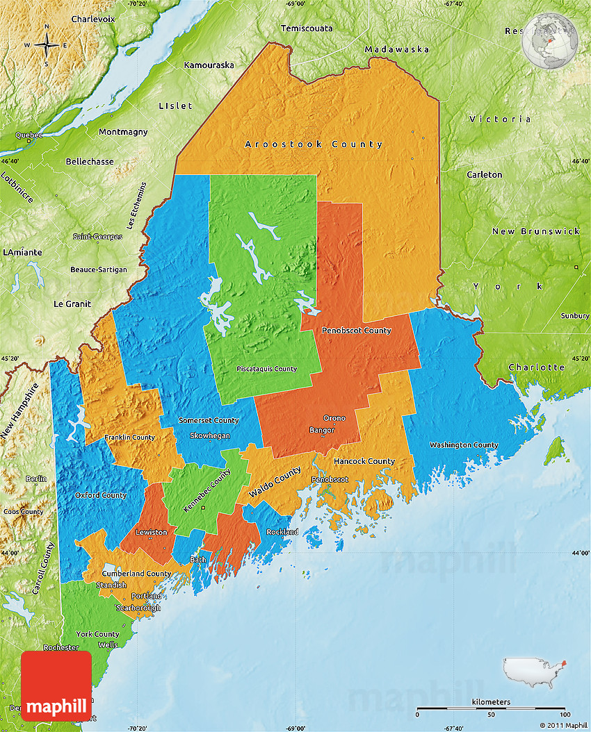 Political Map of Maine, physical outside