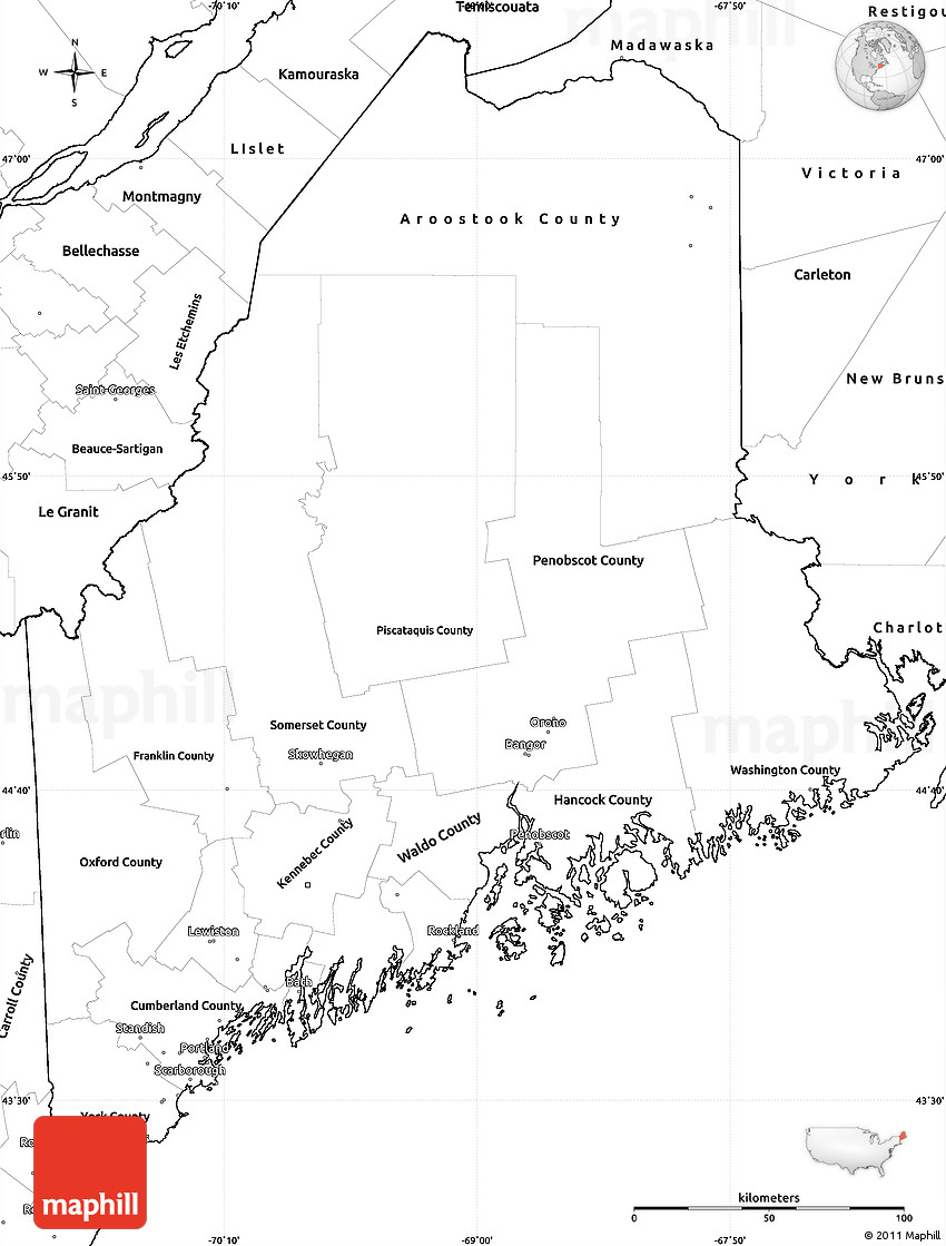 Blank Simple Map of Maine