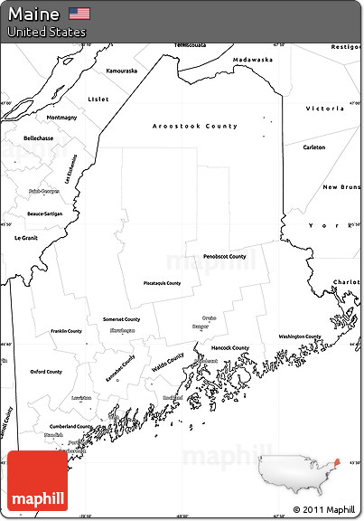 Free Blank Simple Map of Maine