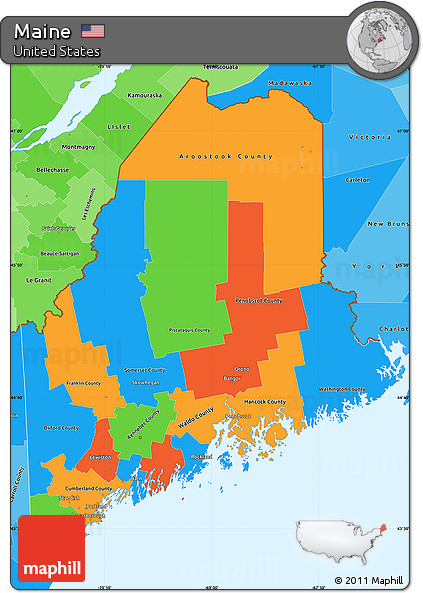 Free Political Simple Map of Maine political shades outside