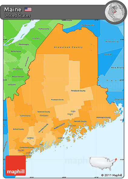 Free Political Shades Simple Map of Maine