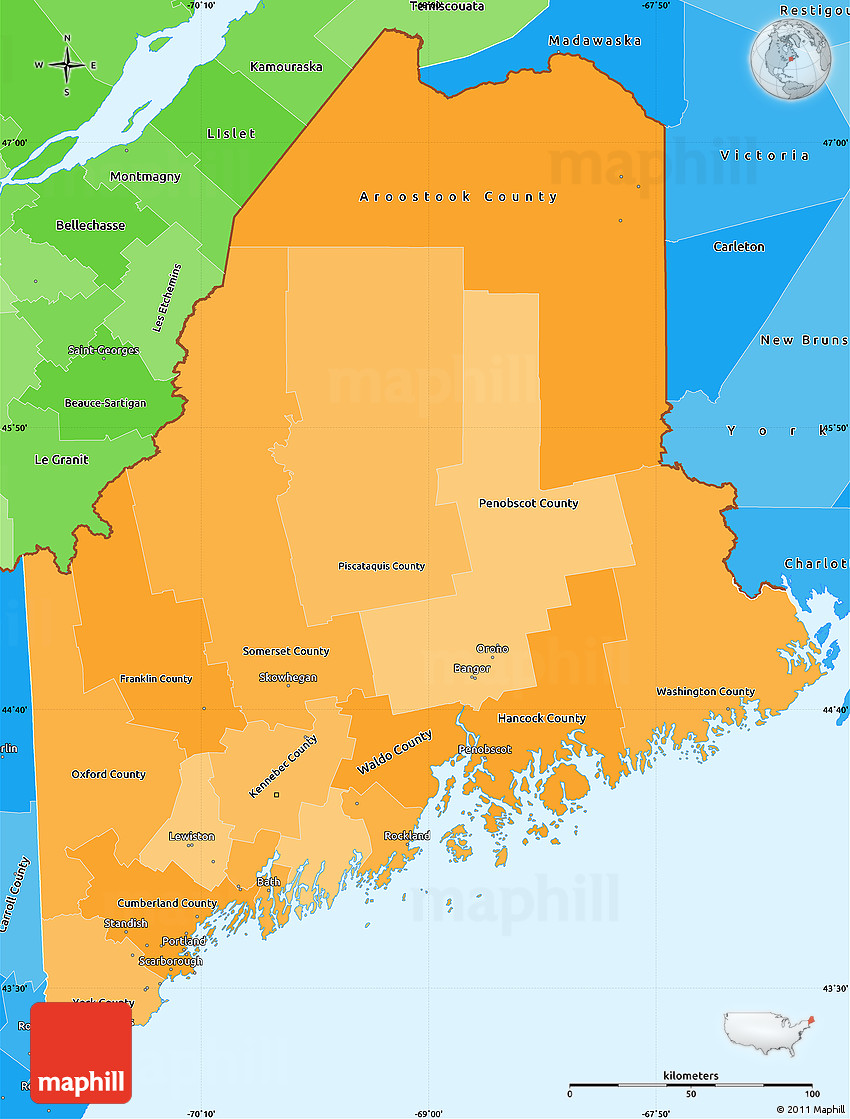 Political Shades Simple Map of Maine