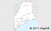 Silver Style Simple Map of Maine