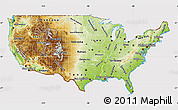 Physical Map of United States, cropped outside