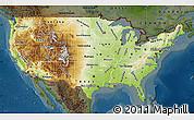 Physical Map of United States, darken