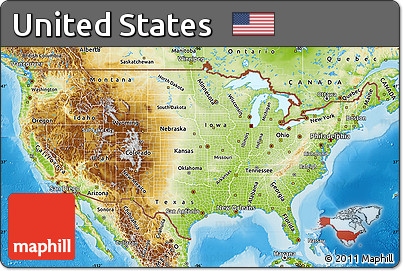 Free Physical Map Of United States - United states of america physical maps