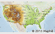 Physical Map of United States, lighten