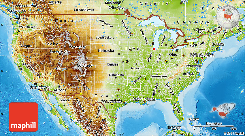 Physical Map of United States on