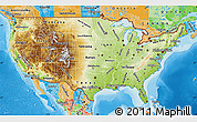 Physical Map of United States, political outside, shaded relief sea