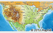 Physical Map of United States, political shades outside, shaded relief sea