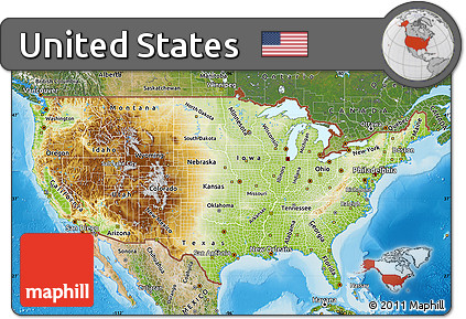 Free Physical Map Of United States Satellite Outside Shaded - Physical map of united states