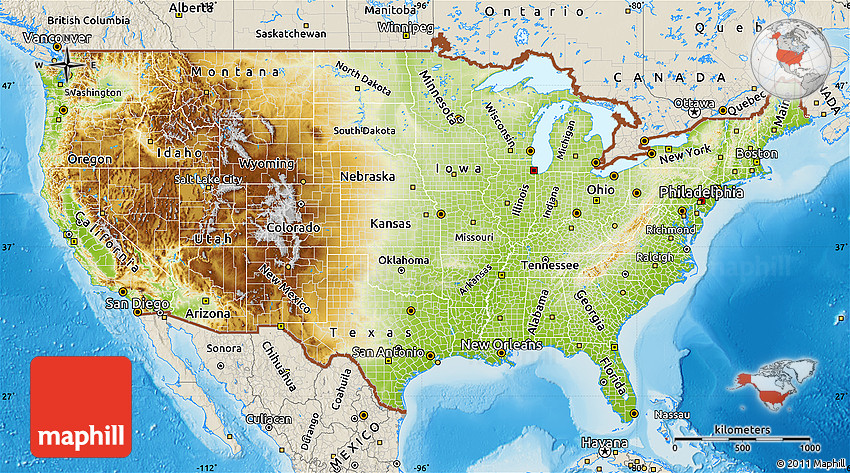 Physical Map Of United States Shaded Relief Outside - Us topo relief map