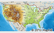 Physical Map of United States, shaded relief outside