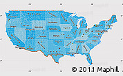 Political Shades Map of United States, cropped outside