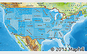 Political Shades Map of United States, physical outside