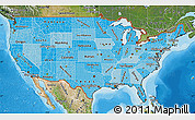 Political Shades Map of United States, satellite outside, bathymetry sea
