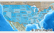 Political Shades Map of United States, semi-desaturated, land only
